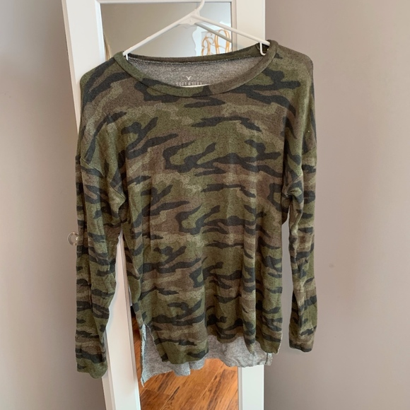 American Eagle Outfitters Sweaters - American Eagle Soft and Sexy Plush Camo Top